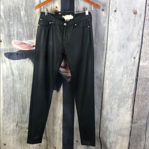 Altar'd State Black Faux Leather Skinny Jeans Sz27